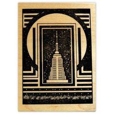 City Skyscraper Mounted Rubber Stamp Art Deco Style 4