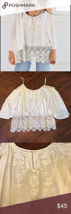 """UO Ecote Gemma Cold Shoulder Top Stunning crochet detailed off the shoulder top from the brand Ecote at Urban Outfitters. This shirt is NWOT. Size medium runs large Chest 49"""" Length 22"""" Urban Outfitters Tops"""