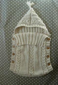 Nid d'ange bébé écru en laine et alpaga boutons en bois 0/3 mois : Mode Bébé par bebe-calin