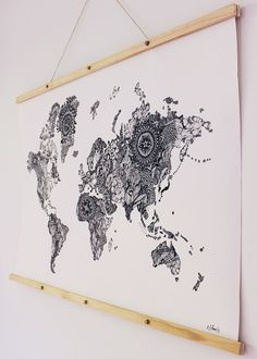 The World Canvas with Timber Wall Hanging 2.jpg
