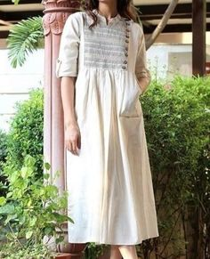 cotton linen fresh cream or white 12 meter Kurti Neck Designs, Kurta Designs Women, Blouse Designs, Indian Long Dress, Chic Outfits, Fashion Outfits, Indian Designer Outfits, One Piece Dress, Long Tops