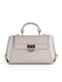 SALVATORE FERRAGAMO Salvatore Ferragamo Shop Online Salvatore Ferragamo Grey Leather Handle Bag. #salvatoreferragamo #bags #shoulder bags #hand bags #leather #lining #