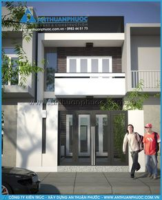 One Storey House, Modern Minimalist House, Minimalist Decor, Small House Exteriors, Duplex House Design, Appartement Design, Narrow House, Villa, House Elevation
