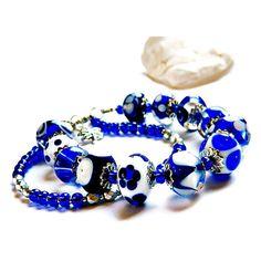 Blue White Lampwork Bracelet, Nautical Bracelet, Seaside jewelry,... ($52) ❤ liked on Polyvore featuring jewelry and bracelets