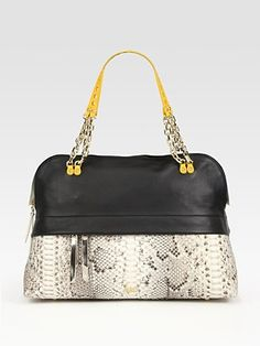 Christian Louboutin Marianne Leather And Python Bowling Bag