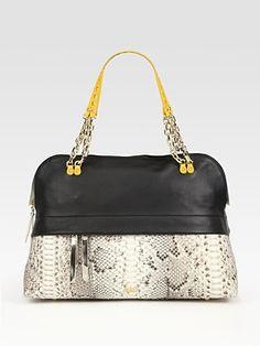Christian Louboutin - Marianne Leather And Python Bowling Bag - Saks.com
