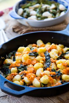 Recipe: Gnocchi Skillet with Sweet Potatoes, Greens & Goat Cheese — Vegetarian Weeknight Dinner Recipes from The Kitchn Best Vegetarian Recipes, Veg Recipes, Dinner Recipes, Cooking Recipes, Healthy Recipes, Vegetarian Dinners, Cheese Recipes, Dairy Recipes, Kitchens