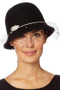 Black felt hat, brimless network
