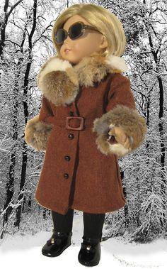 "American Girl 18"" Doll Winter Coat, Handmade!  Beautiful Inspiration."