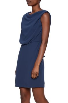 Blouson drape top dress with a fitted pencil skirt, ruffled waist and an elastic waist.    One size fits sizes xsmall through small.   Chic On The Street Dress by Pinkyotto. Clothing - Dresses - Work Nolita, Manhattan, New York City Boston, Massachusetts