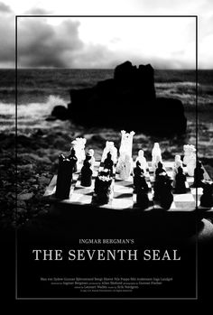Poster for The Seventh Seal by Scott Saslow. #theseventhseal #ingmarbergman #maxvonsydow #gunnarbjornstrand #bibiandersson #bengtekerot #50s #foreignfilm #swedishfilm #swedish #drama #fantasy #death #criterioncollection #blackdeath #grimreaper #chess #movieposter #graphicdesign #posterdesign #fanart #alternativefilmposter #alternativemovieposter #photoshop