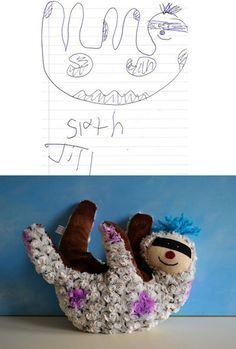 Stuffed animals made from a kids drawing!