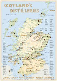 Poster Whisky Destillerien Schottland 60x42