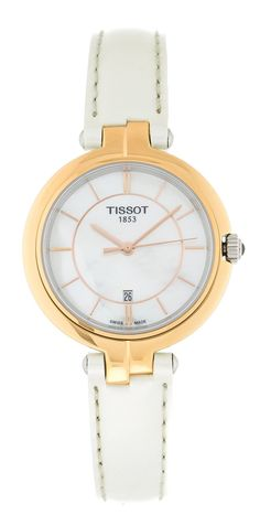 3ce4536c8ca6 Tissot T-Lady Flamingo White MOP Dial WHT Leather Watch T0942102611101