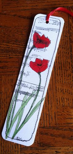 Watercolor Bookmark Red Poppies with Musical by Wildflowerhouse