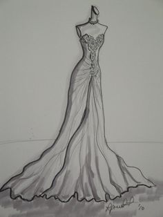 11x14  Wedding Dress Custom Illlustration Sketch