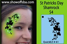 St. Patrick's Day face painting stencil....Shamrock