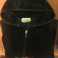 Juicy Couture Velour Long Sleeve Hooded Jacket Juicy Couture Velour Long Sleeve Hooded Jacket in Black. Size medium, runs small. Juicy Couture Tops Sweatshirts & Hoodies