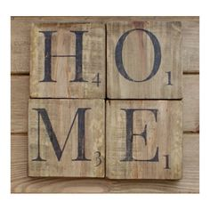 HOME sign wooden scrabble letters.wood wall art.reclaimed wood.Rustic home decor.shabby chic wall decor.Home letters,wood rustic oak colour by Pepperwoodandco on Etsy