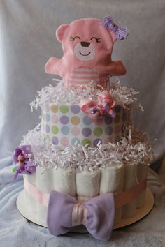 Diaper cake for baby girl by HappyTiersbyAllison on Etsy