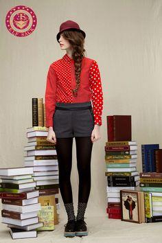Womens Polo Polka Dot Retro Red Blouses