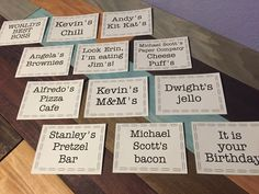The Office place cards printables The Office theme Office Office Party Foods, Office Themed Party, Office Parties, Office Gifts, Office Party Decorations, Office Themes, The Office Wedding, White Trash Party, Office Baby Showers