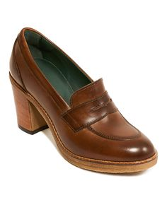 32564972537 Take a look at this Dark Brown Leather Penny Loafer Pump today! British  passportDark ...