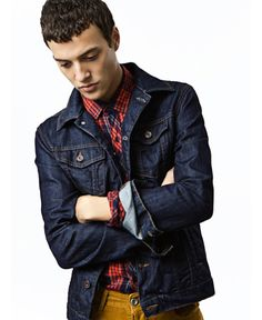 dark denim jacket, red plaid shirt, mustard pant