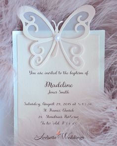 Butterfly baby girl baptism invitation <3 Pinned from: https://www.etsy.com/listing/244787018/baptism-invitation-baby-shower?ref=shop_home_active_17 #BaptismInvitation #ChristeningInvitation #LovlietteWeddings