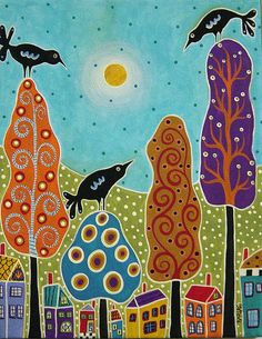 Trees Houses Birds Painting by Karla G by karlagerard, via Flickr