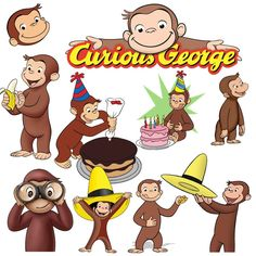 56 Curious George Nickelodeon Cute Monkey Clipart Pack PNG Digital ...