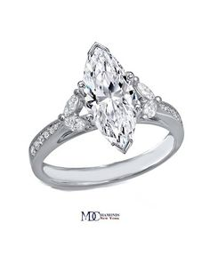 Marquise Diamond Cathedral Engagement Ring