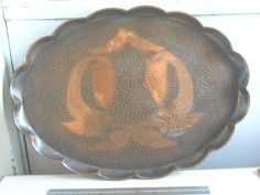 Arts and Crafts Copper Fish Tray Planished Hammered Pie Crust Edges