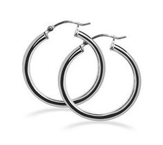 """BDES004 2mm Thick Sterling Silver Hoop Earrings with 0.6"""" Diameter  http://electmejewellery.com/jewelry/earrings/hoop/bdes004-2mm-thick-sterling-silver-hoop-earrings-with-06-diameter-com/"""