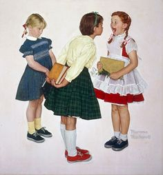This is how girls dressed for school every day in the early/mid-60's. That dress on the left looks so familiar!