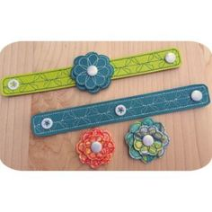 In The Hoop :: Bracelet with Interchangeable Flowers - Embroidery Garden In the Hoop Machine Embroidery Designs
