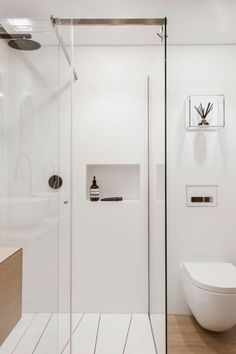 Australian Contemporary Bathroom with Modern Design Ideas : Australian Contemporary Bathroom Design Ideas With White Toilet And Glass Shower. Attic Bathroom, Bathroom Toilets, Bathroom Renos, Laundry In Bathroom, Bathroom Interior, Small Bathroom, White Bathroom, Bathroom Ideas, Wood Bathroom