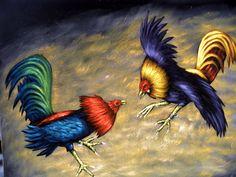 Pintura al OLEO de PELEA DE GALLOS por MR. ZALAS....Un juego de colores vivos con plumajes exoticos.Las peleas de gallos son legales en la mayoría de países latinoamericanos, así como en tres regiones europeas Islas Canarias, Andalucía, y la región francesa de Norte-Paso de Calais, y en países de Asia como Filipinas.
