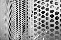 Perforated metal, various geometries. Uniform perforating, perforated images patterns, etc. Punching and deep drawing, textures and various geometries. Deep Drawing, Metal Facade, Expanded Metal, Perforated Metal, Corrugated Metal, Unique Architecture, Facades, Cladding, Geometry