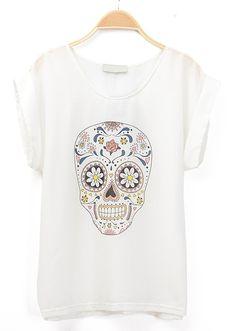 White Short Sleeve Skull Print Chiffon Blouse US$21.80
