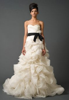 This stunning Vera Wang gown works perfectly with the black and white trend of Fall 2013.