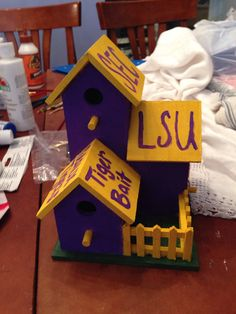 LSU Tigers Birdhouse  by Tylersports on Etsy, $18.00