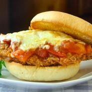 Double Crunch Fried Chicken Parmesan Burgers on Parmesan Herb Buns with Chunky Fresh Tomato Compote