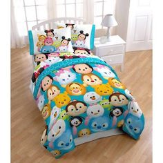 Disney Tsum Tsum 4-Piece Twin Bedding Set - Walmart.com  I wish this came in Full size!  My kids both have full size beds.