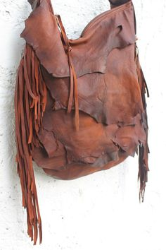 Tribal leather raw edges gypset rusted orange brown distressed  fringed bag fringe raw tote brown autumn fall hobo tribal slouchy bag boho