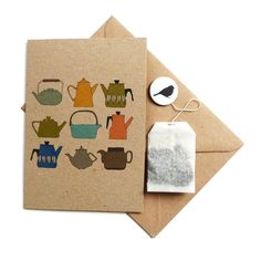 {teapots card, with a teabag inside!} by Kate Broughton - such a cute idea!