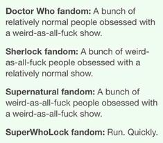 SuperWhoLock fandom: weird-as-all-fuck