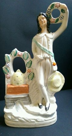 Antique Staffordshire Figure of Man with Garland c.1865