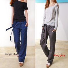 Breeze - top quality straight cut cotton linen pants / linen casual pants (K3102)