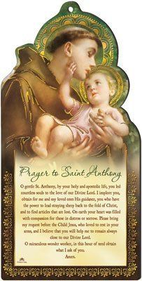 "8"" x 4"" Wood Wooden Laser Cut Plaque - St Saint ANTHONY rosarybeads4u http://www.amazon.co.uk/dp/B0081IOEHI/ref=cm_sw_r_pi_dp_fQSWub1HM0T5G"